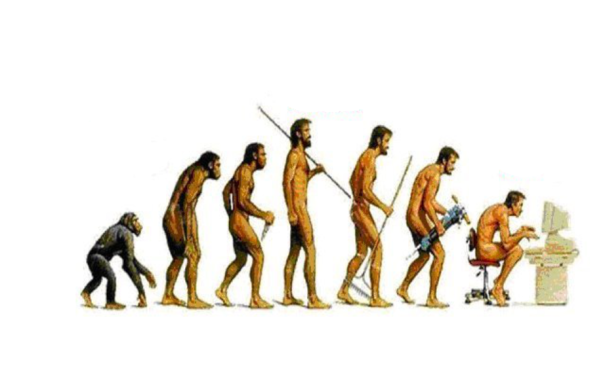 cavemen evolving into computer geek
